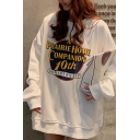 Pretty Leisure Long Sleeve ANNIVERSARY Letter Print Long Oversize Pullover Sweatshirt