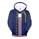New Fashion Boys Popular 3D Chain Heart Pattern Long Sleeve Drawstrring Cosplay Costume Loose Hoodie with Pocket