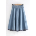 Casual Womens Elastic Waist Fringe Hem Long Pleated Plain Denim Skirt