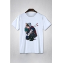 Korean Style Short Sleeve Crew Neck Cartoon Printed Relaxed Fit T-Shirt in White