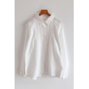 Casual Womens Long Sleeve Lapel Collar Button Down Lace Trimmed Relaxed Solid Color Shirt