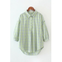 Casual Womens Long Sleeve Lapel Collar Button Front Plaid Patterned Curved Hem Long Oversize Shirt