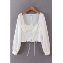 Ladies White Fashion Long Sleeve Sweetheart Neck Lace Up Front Ruched Relaxed Crop Blouse Top