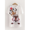 Popular Womens Short Sleeve Round Neck Squirrel Patterned Oversize Long T Shirt