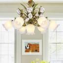 4/7 Lights Metal Chandelier Lighting Pastoral Green Flower Living Room Ceiling Pendant