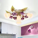 Metal White Ceiling Flush Bloom 1/4 Heads Traditional Semi Mount Lighting for Dining Room