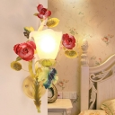 Flared Bedroom Wall Light Sconce Countryside Opal White Glass 1/2 Heads Green Wall Lighting Fixture