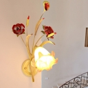 Metal Bloom Wall Light Fixture Antique 1/2 Lights Bedroom Wall Sconce Lighting in White