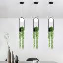 Metal Black Plant Hanging Lamp Ball 1 Light Vintage LED Suspension Pendant for Restaurant