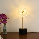 Tapered Task Lighting Modernist Hand-Cut Crystal 6 Bulbs Small Desk Lamp in Gold