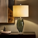 Cylinder Fabric Task Light Modern 1 Bulb Grey Reading Lamp with Clear Crystal Base