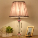 Conical Shade Desk Light Modernism Fabric 1 Head Pink Night Table Lamp for Bedroom