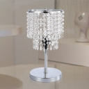 Contemporary Tiered Nightstand Lamp Beveled Crystal 1 Bulb Reading Book Light in Chrome