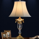 Bell Fabric Desk Lamp Modern 1 Head White Table Light with Carved Brass Metal Base