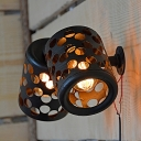 Black 2 Lights Sconce Lamp Vintage Iron Hollow-Out Cylindrical Wall Light Fixture