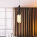 Industrial Capsule Hanging Light Kit 1-Light Amber/Clear Glass LED Ceiling Lamp for Bedroom