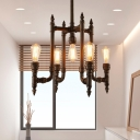 Industrial Water Pipe Chandelier 5-Bulb Metal LED Hanging Ceiling Lamp in Rust for Dining Room