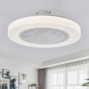 LED Flush Mount Lighting Modern Living Room Pendant Fan Lamp with Circular Acrylic Shade in White with 3 Blades, 23