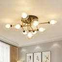Gold Globe LED Semi Flushmount Contemporary 9-Light Clear Glass Flush Mount Ceiling Lamp