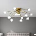 Metal Starburst Semi Flush Lighting Modern 13-Bulb Brass Finish Flush Mount Ceiling Lamp