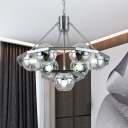 2-Tier Spherical Clear Glass Suspension Light Minimalist 7-Head Silver Chandelier Lamp Fixture