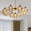 2-Tier Round Pendant Lighting Modernist Amber Glass 9-Head Living Room Ceiling Chandelier in Brass
