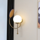 Globe Wall-Mount Lighting Modern Milk Glass 1 Head Bedside Sconce in Black with Mirror Deco