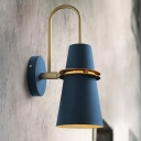 Flared Iron Wall Mount Lighting Modernist 1 Light Blue/Black Finish Wall Sconce Lamp with Curved Arm