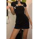 Retro Womesn Short Sleeve Mandarin Collar Frog Button Front Cut Out Mini Bodycon Dress in Black