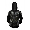 Cool Boys Unique Long Sleeve Drawstring Zipper Front Anime Cosplay 3D Printed Loose Hoodie in Black