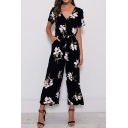 Gorgeous Ladies Short Sleeve V-Neck All-Over Floral Printned Bow Tied Waist Long Wide Leg Jumpsuits