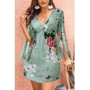 Pretty Ladies Bell Sleeves V-Neck Cut Out All Over Floral Printed Mini A-Line Dress in Green
