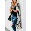 Stylish Unique Ladies Bell Sleeve All Over Floral Printed Fringe Relaxed Long Cardigan in Black
