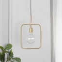 Metal Square Frame Pendant Light Fixture Contemporary 1 Exposed Bulb Gold Hanging Lamp
