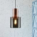 Smoke Grey Glass Cylinder Hanging Light Contemporary 1 Light Pendant Light Fixture