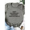 Simple Girls Roll Up Sleeve Crew Neck Letter DON'T FOLLOW IN MY FOOTSTEPS Print Relaxed T Shirt