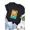 Trendy Ladies Roll-Up Sleeve Crew Neck Letter LET IT GOGH Van Gogh Print Relaxed Graphic Tee