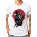 Basic Street Boys Short Sleeve Crew Neck Cartoon Samurai Printed Slim Fitted T Shirt in White