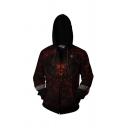 Famous Game DIABLO 3D Pattern Long Sleeve Zip Front Zip Up Relaxed Hoodie in Black