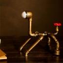 1-Head Nightstand Light Industrial Dog Robot Metallic Task Lamp in Brass for Bedside