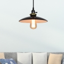 1 Light Saucer Pendant Lighting Industrial White/Black Iron Hanging Ceiling Lamp for Balcony