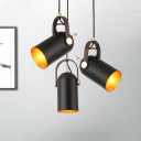 Farmhouse Bell Adjustable Hanging Light 1-Light Metal Suspended Pendant Lamp in Black with Handle