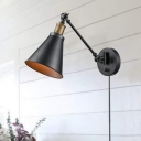 Antiqued Conical Wall Light Sconce 1-Light Metal Wall Lamp Fixture in Black for Kitchen