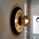 Metallic White Wall Lighting Beer Bottle Cap Shape 1 Light Antiqued Wall Mount Sconce with Orb Cognac Glass Shade
