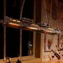 3 Lights Iron Island Pendant Light Antiqued Rust Finish Linear Bar Hanging Lamp Fixture