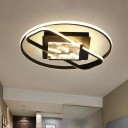 Black Ring and Square Flush Light Fixture Simple LED Acrylic Flush Ceiling Lamp for Bedroom