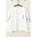 Girls Stylish Long Sleeve Round Neck Fish Japanese Letter Graphic Pocket Panel Loose Fitted T-Shirt