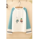 Fantastic Womens Long Sleeve Round Neck Cartoon Rabbit Frog Patterned Varsity Stripe Colorblock Relaxed Tee