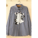 Casual Womens Long Sleeve Lapel Collar Button Down Cat Embroidered Checker Pattern Loose Fit Shirt