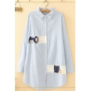 Womens Stylish Long Sleeve Lapel Collar Button Down Cat Paw Embroidery Striped Curved Hem Longline Oversize Shirt